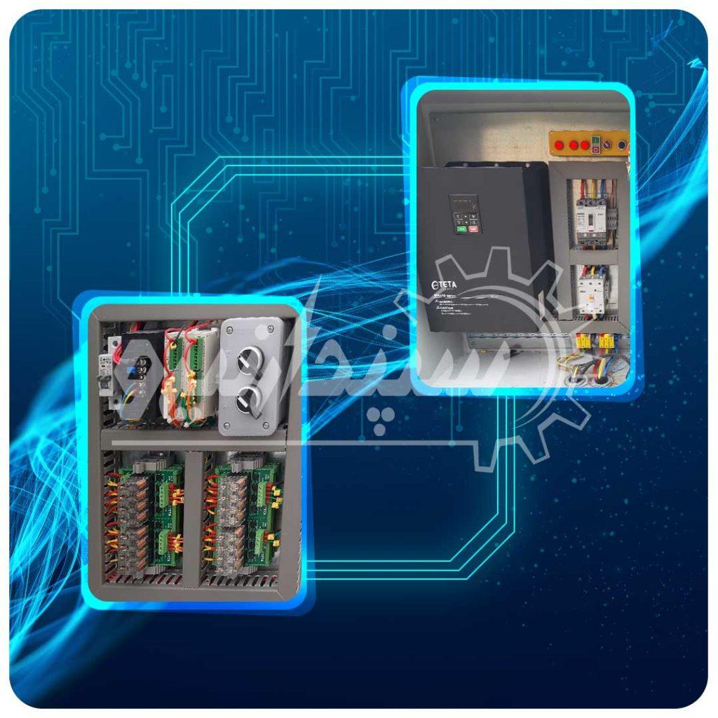 تابلو قدرت و فرمان به همراه اینورتر TETA 55KW جهت راه اندازی الکتروموتور و PLC TETA جهت فرمان قطع و وصل مکنده بگ فیلتر و شیرهای برقی بگ فیلتر کارخانه ذوب سرب شهرک صنعتی خیرآباد
