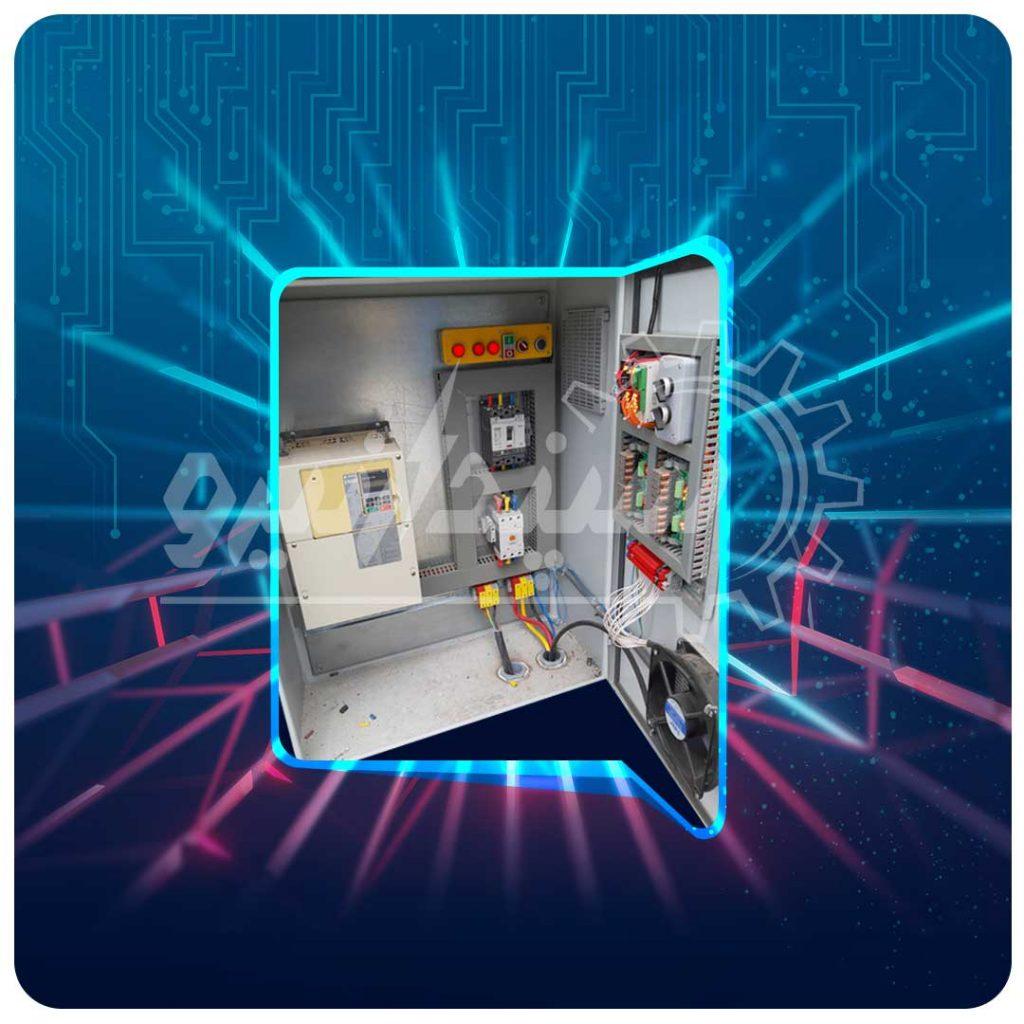 تابلو قدرت و فرمان به اینورتر YASKAWA 45KW جهت راه اندازی الکتروموتور و PLC TETA جهت فرمان قطع و وصل مکنده بگ فیلتر و شیرهای برقی بگ فیلتر کارخانه ذوب سرب صنعتی خیرآباد
